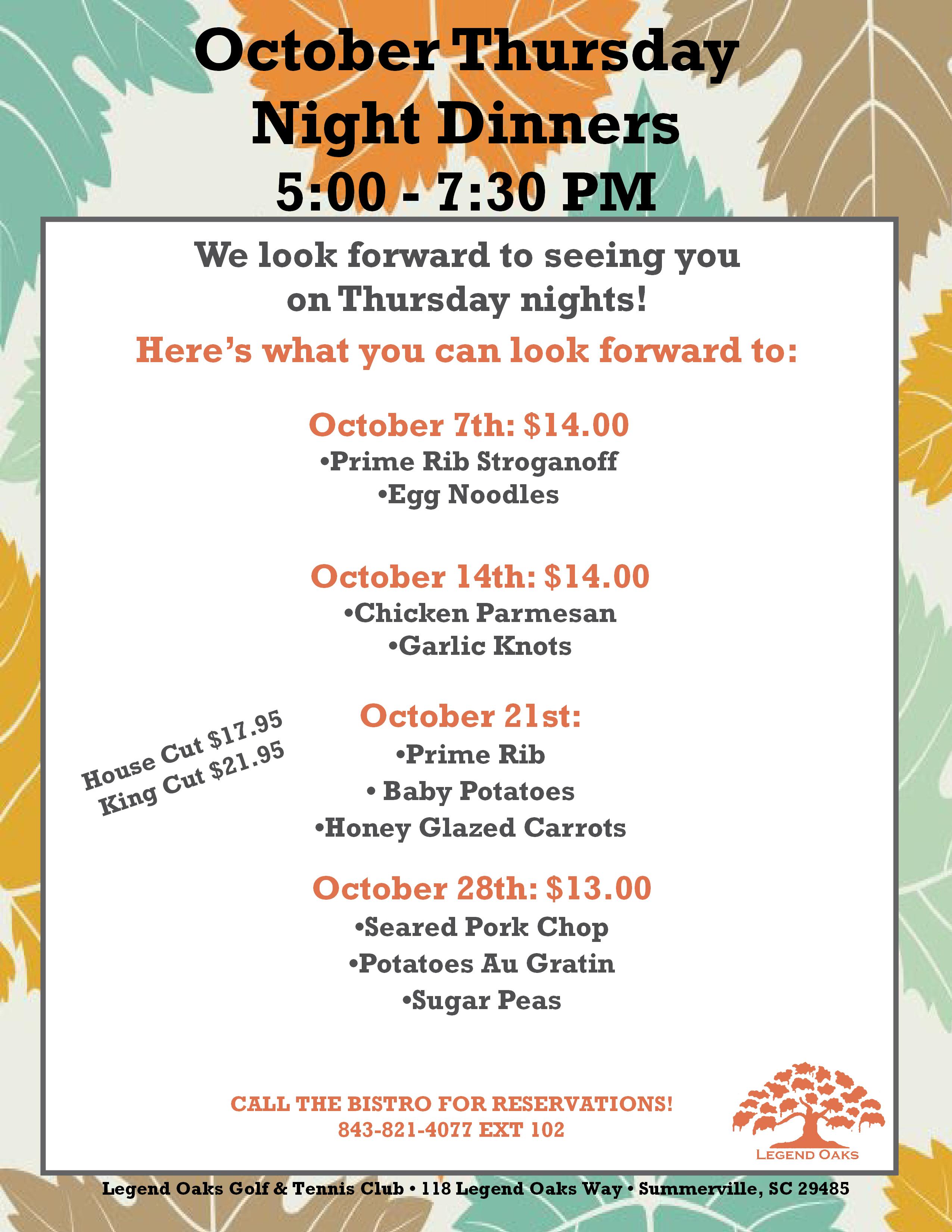 October Thursday night dinners