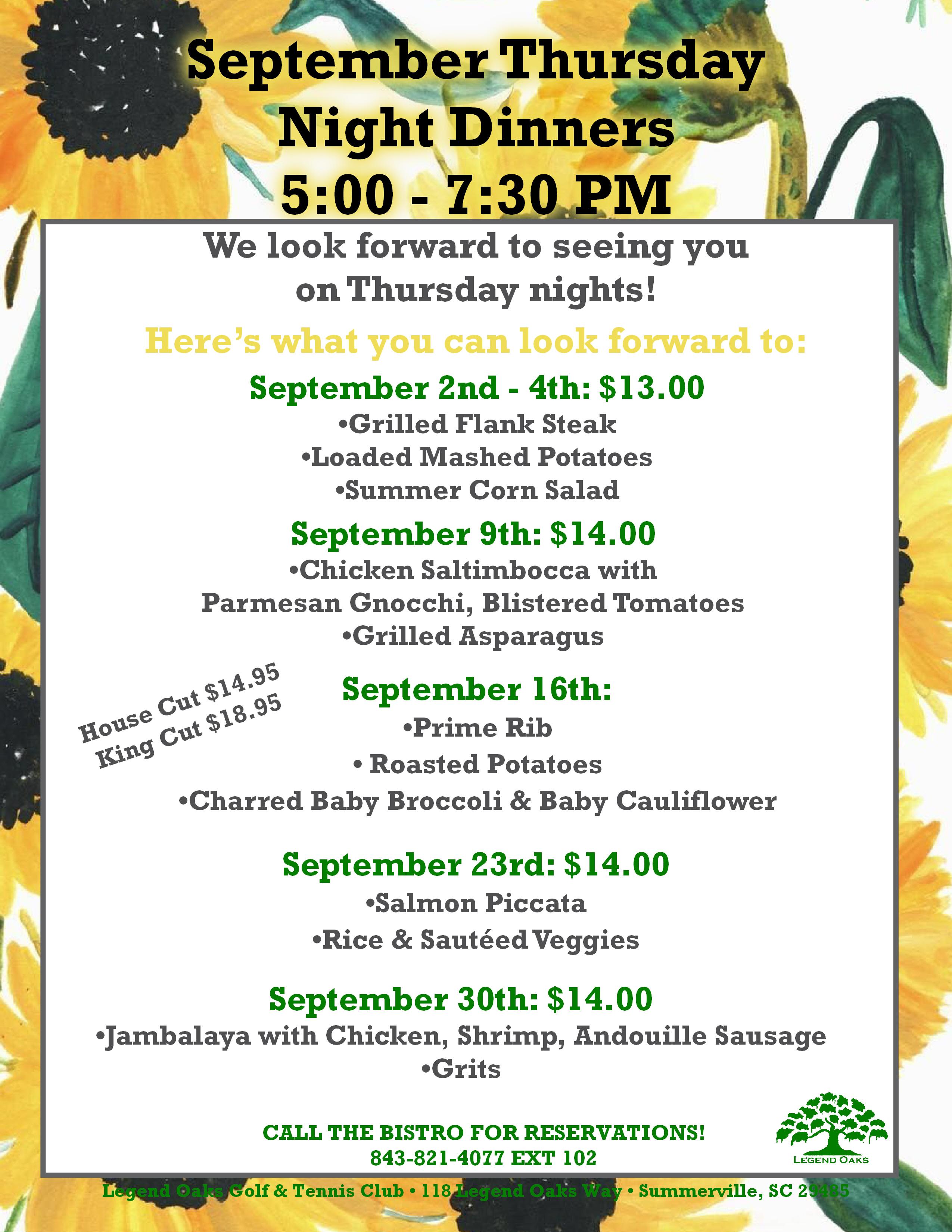 September Thursday Night Dinners
