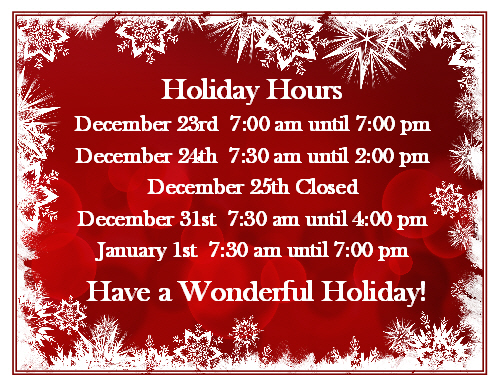 Christmas Holiday Hours 2018 WEB