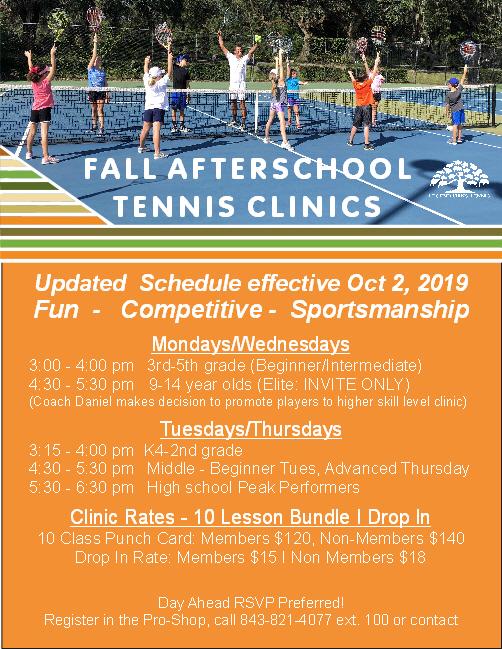 Fall Afterschool Tennis Clinic 10 2 2019