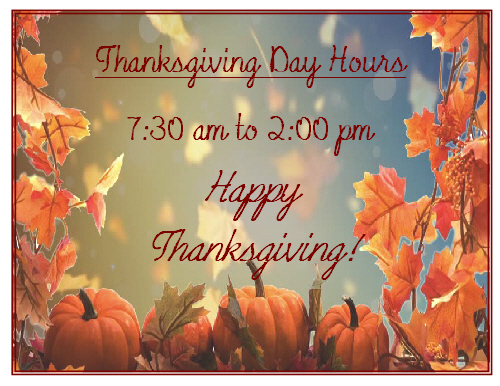 Thanksgiving hours1 2019
