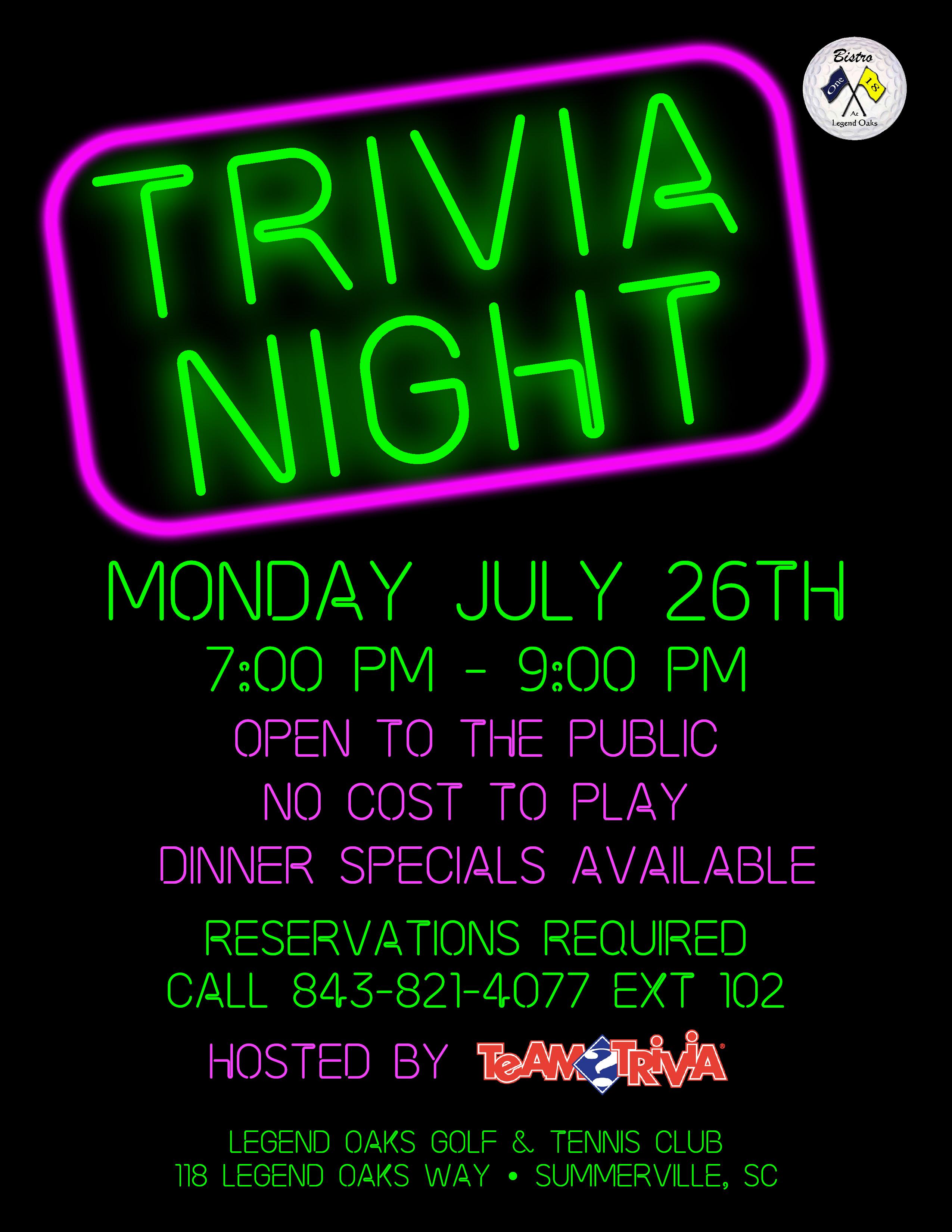 Trivia Night July 26th